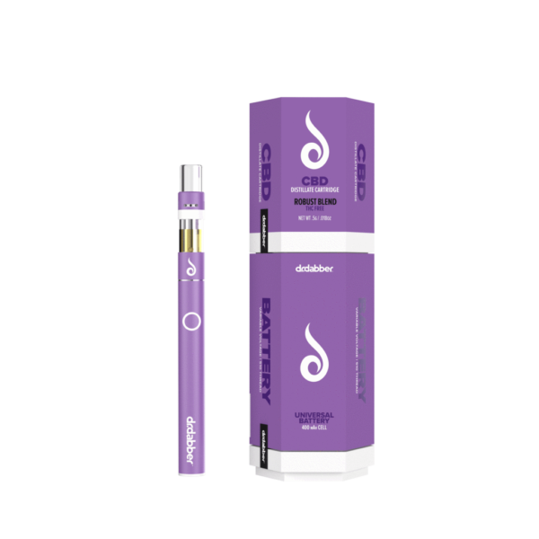 This CBD vape kit bundle includes 1 Robust Blend CBD Cartridge, a matching Purple Universal Rechargeable Battery, and USB Charger. Bold tones of bourbon, violets, and earth give this terpene blend a very complex and rich flavor profile. This full-bodied cartridge was made for someone looking for a savory experience.